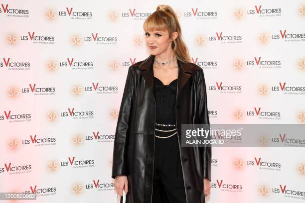 Belgian singer and songwriter Angele Van Laeken aka Angele poses on the red carpet during a photocall prior to the 35th Victoires de la Musique the...
