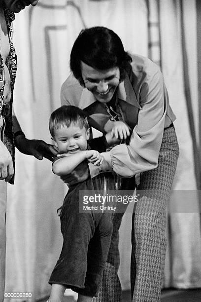 Belgian singer and songwriter of Italian origin Salvatore Adamo with his son Anthony born in 1969