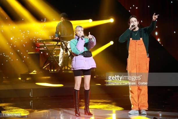 Belgian singer Angele and Belgian rapper Romeo Elvis perform during the 34th 'Les Victoires De La Musique' Show at La Seine Musicale on February 08,...