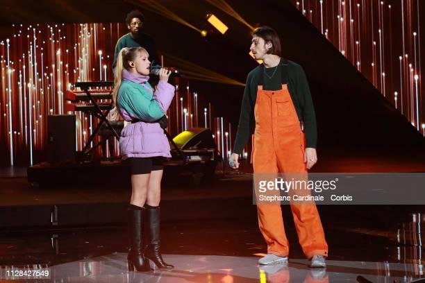Belgian singer Angele and Belgian rapper Romeo Elvis perform during the 34th 'Les Victoires De La Musique' Show at La Seine Musicale on February 08...