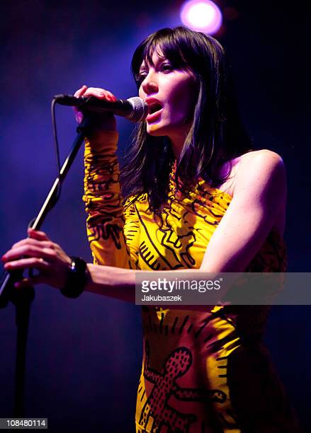 Belgian singer Helena Noguerra of the French cover band Nouvelle Vague peforms live during a concert at the Huxleys Neue Welt on January 28 2011 in...