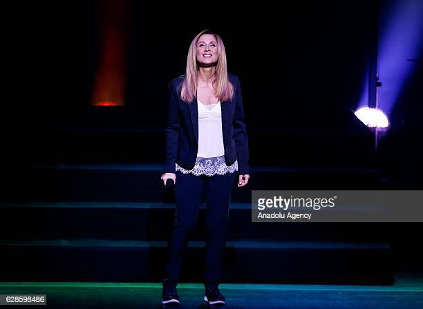 Belgian singer Lara Fabian performs during her concert at Zorlu PSM in Istanbul, Turkey on December 08, 2016