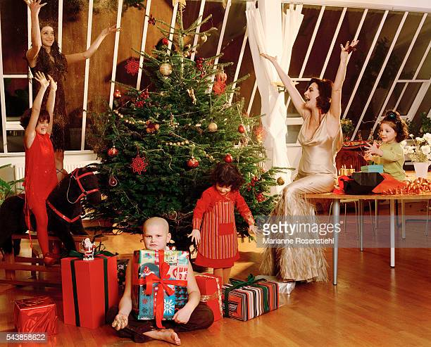 Belgian singer of Portuguese origin Lio celebrating Christmas with her children Nubia Esmeralda Igor and twins Garance and Lea