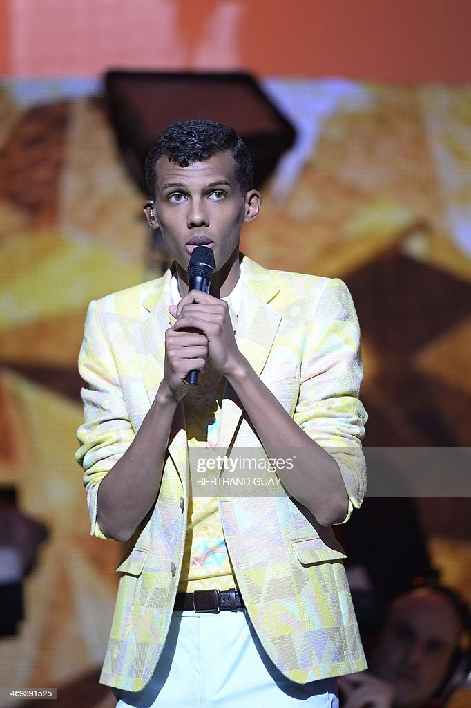 Belgian singer Paul Van Haver, aka Stromae, speaks at the opening of the 29th Victoires de la Musique, the annual French music awards ceremony, on February 14, 2014 at the Zenith concert hall in Paris.