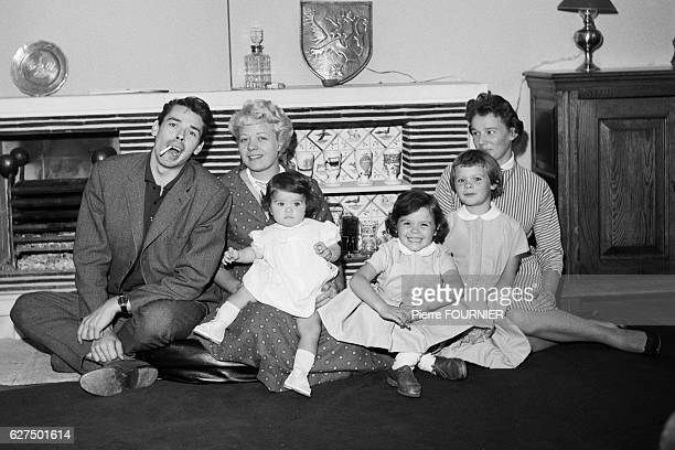 Belgian singer songwriter actor and director Jacques Brel his wife Therese Mich Michielsen and their three daughters Chantal France and Isabelle 1