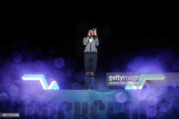 Belgian singer Stromae performs on stage on July 4 at the Eurockeennes festival in the eastern French city of Belfort. AFP PHOTO/SEBASTIEN BOZON
