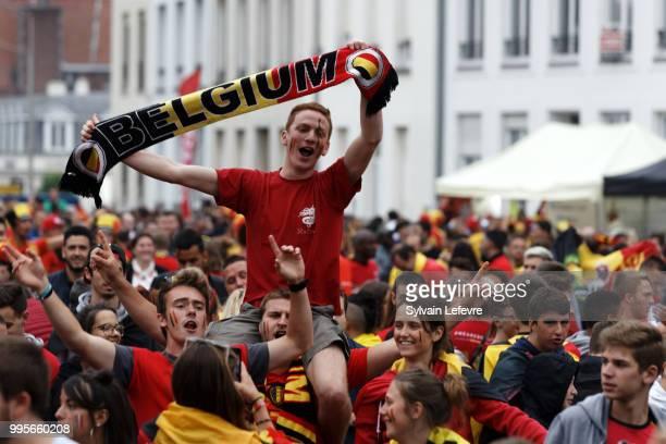 Belgian soccer fans attend Belgium National team 'Les Diables Rouges' vs France National Team during FIFA WC 2018 Belgium vs France at Tournai Fan...