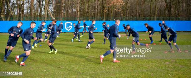 Belgian soccer team KRC Genk's players take part in a training session on February 20 2019 in Genk ahead of the Europa League football match against...