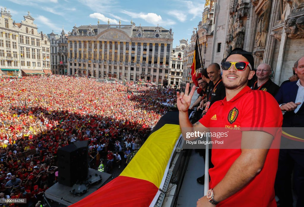 Red Devils Parade In Brussels After Returning From World Cup Russia : News Photo