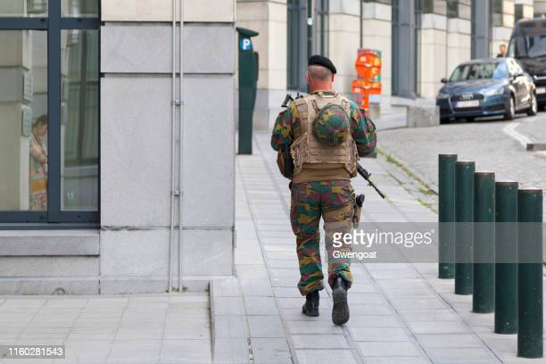 belgian soldier in brussels - army stock pictures, royalty-free photos & images
