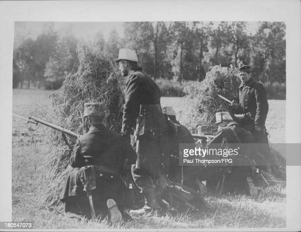 Belgian soldiers in combat in occupied France circa 19141918