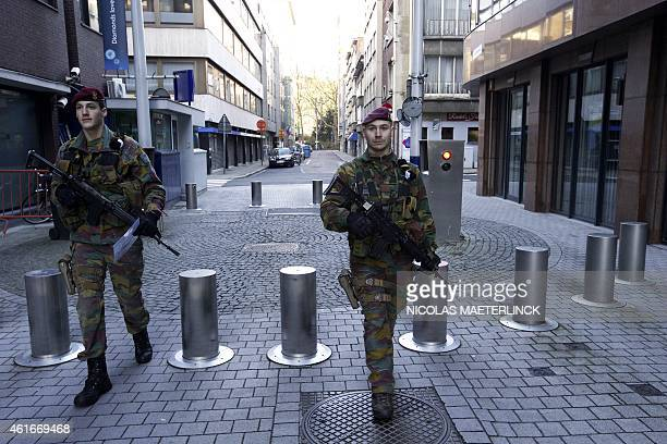 Belgian soldiers patrol in Antwerp on January 17 2015 after security forces smashed a suspected Islamist terrorist cell planning to kill police...