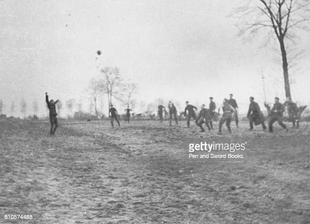 Belgian Soldiers Playing a game of football
