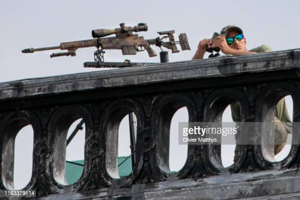 Belgian Special Police Force Snipers secure the military parade during the National Day of Belgium 2019 on July 21 2019 in Brussels Belgium