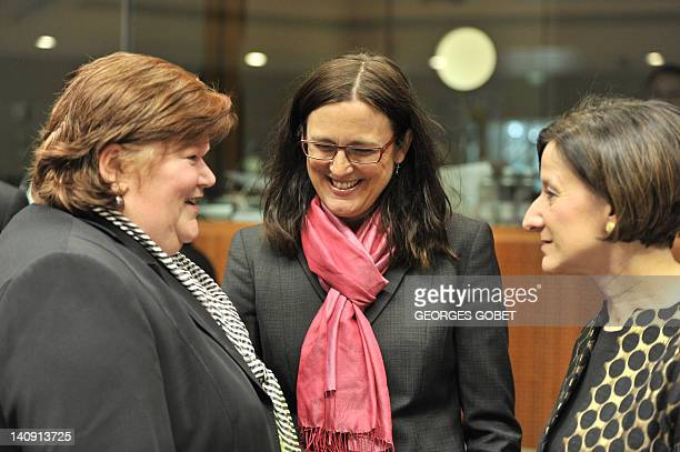 Belgian State Secretary for Asylium and Immigration Maggie De Block EU commissioner for Home Affairs Cecilia Malmstrom and Austrian Minister of...