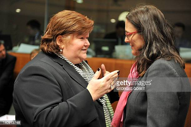 Belgian State Secretary for Asylium and Immigration Maggie De Block and EU commissioner for Home Affairs Cecilia Malmstrom talk prior to Justice and...