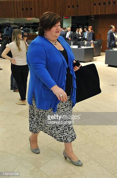 Belgian State Secretary of Home Affairs Maggie De Block arrives prior a Home Affairs Council on June 6 2013 at the Kirchberg conference center in...