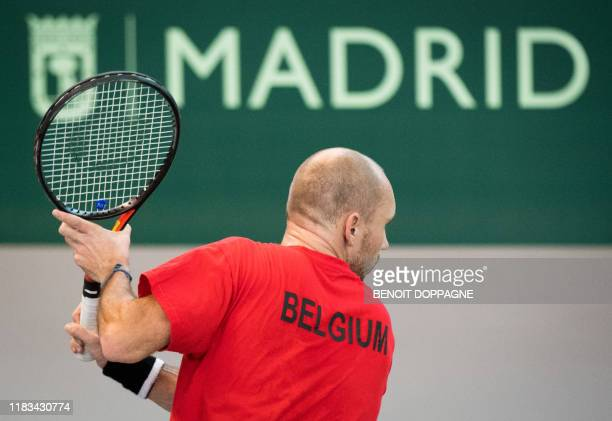 Belgian Steve Darcis pictured during a training practice at the Davis Cup World Group tennis finals, Tuesday 19 November 2019, in Madrid, Spain....