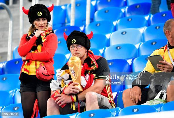 Belgian supporters during the FIFA 2018 World Cup Russia SemiFinal match between France and Belgium at the Saint Petersburg Stadium on July 10 2018...