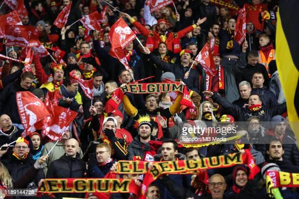 Belgian supporters during the UEFA Euro 2020 Qualifier between Belgium and Cyprus on November 19, 2019 in Brussels, Belgium.