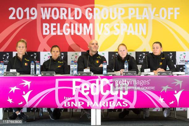 Belgian team players Ysaline Bonaventure Kirsten Flipkens Alison Van Uytvanck Yanina Wickmayer and captain Johan Van Herck give a press conference...