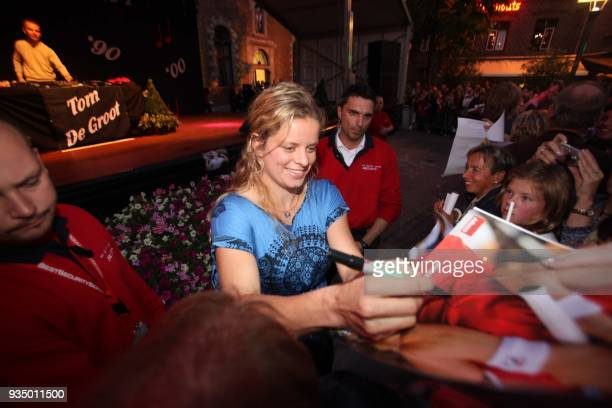 Belgian tennis player Kim Clijsters celebrates on September 18 2009 in Bree Clijsters won this year's edition of the US Open Grand Slam after being...