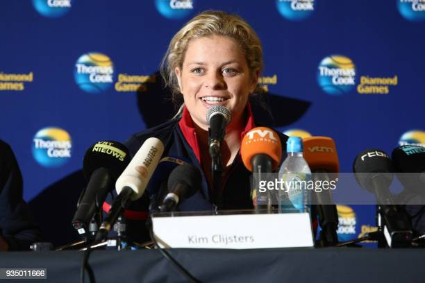 Belgian tennis player Kim Clijsters gives a press conference on September 24 2009 in Tessenderlo Surprise US Open winner Clijsters on September 23...