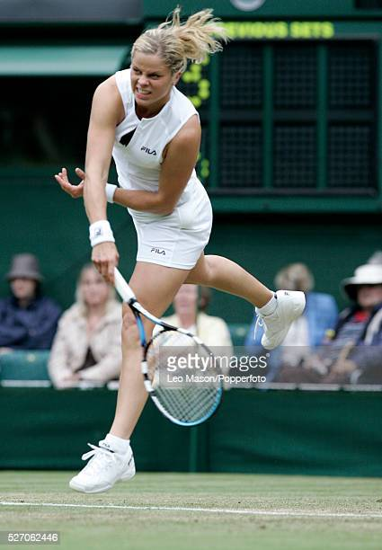 Belgian tennis player Kim Clijsters pictured in action serving in her third round match against Roberta Vinci of Italy during progress to reach the...