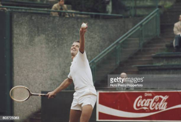 Belgian tennis player Patrick Hombergen pictured in action competing for the Belgium team against the Czechoslovakia team in the Europe Zone B draw...