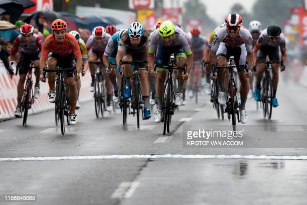 Belgian Timothy Dupont of Wanty-Gobert Cycling Team and Belgian Roy Jans of Corendon-Circus sprint to the finish of the first stage of the Tour De...