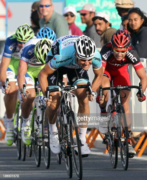 Belgian Tom Boonen of team Omega Pharma-Quick Step sprints to the finish line to win the 133.5 kilometre first stage of the Tour of Qatar cycling...