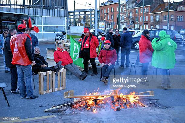 Belgian trade unions strike against government austerity plans in Brussels Belgium on December 82014 As of Monday morning some 44 percent of flights...