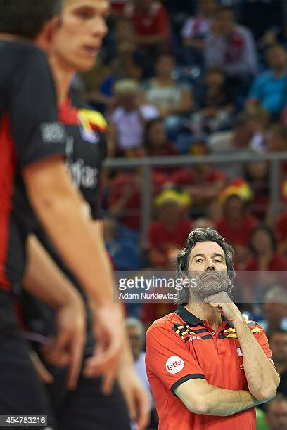 Belgian trainer coach Dominique Baeyens looks to the ball during the FIVB World Championships match between Belgium and Iran at Cracow Arena on...