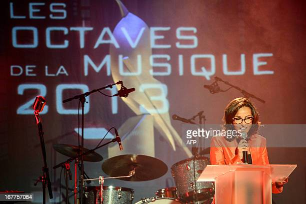 Belgian TV host Hakima Darhmouch speaks during the tenth edition of the 'Les Octaves de la Musique' music awards on April 29 2013 in LouvainLaNeuve...
