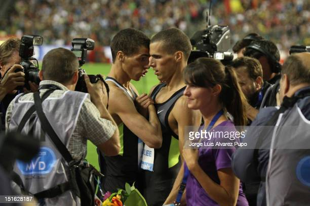 Belgian twings Athletes Jonathan Borlle and Keving Borlee celebrate Victory after the Men's 400m. Kevin Borlee clocked 44s75 to seal his triunph...