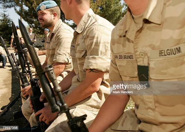 Belgian U.N. Soldiers of UNIFIL stand guard on April 20, 2007 at the Belgian Camp on April 20, 2007 in Tibnin, Lebanon. Prince Philippe is in Lebanon...