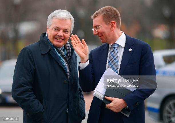 Belgian VicePrime Minister and Foreign Minister Didier Reynders arrives for the Informal Meeting of EU Foreign Affairs ministers in Sofia on February...