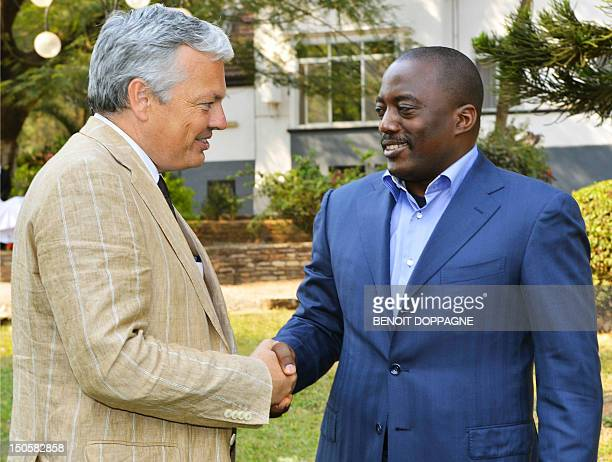 Belgian VicePrime Minister and Foreign Minister Didier Reynders meets Democratic Republic of Congo President Joseph Kabila on August 22 2012 in...