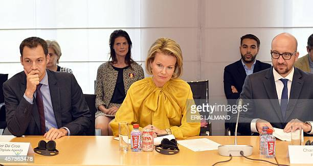 Belgian VicePrime Minister and Minister of Cooperation Development Digital Agenda Telecom and Postal services Alexander De Croo Queen Mathilde of...