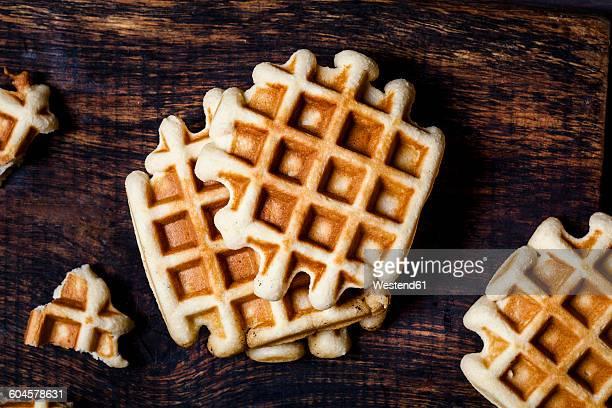 Belgian waffles on dark wood
