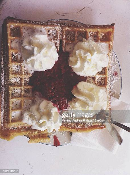 Belgian Waffles With Jam And Whipped Cream
