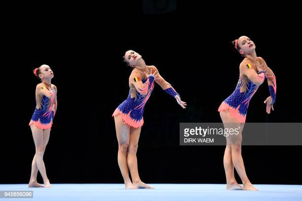 Belgian Women's group with Lena De Moor Anna Hyde and Eva Hyde perform on the first day of the 26th edition of the World Championships Acrobatic...