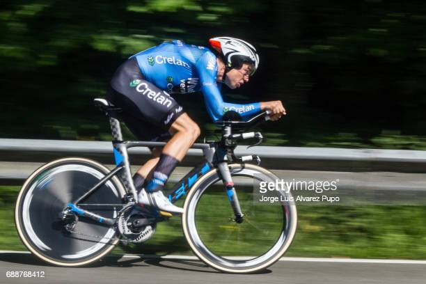 Belgian Wout Van Aert of Belgium and team Veranda's WillemsCrelan's competes during the third stage of the Baloise Belgium Tour cycling race on May...