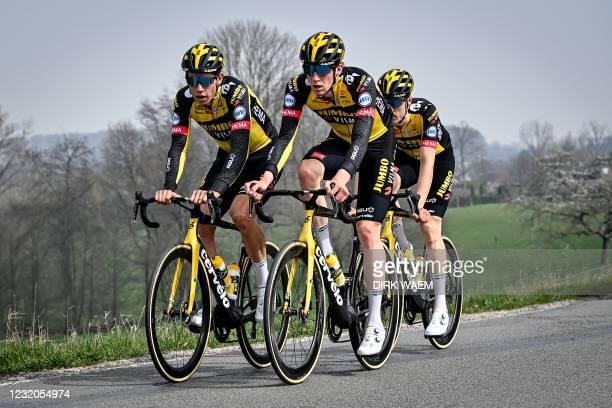 Belgian Wout Van Aert of Team Jumbo-Visma, Belgian Nathan Van Hooydonck of Team Jumbo-Visma and Dutch Timo Roosen of Team Team Jumbo-Visma ride...