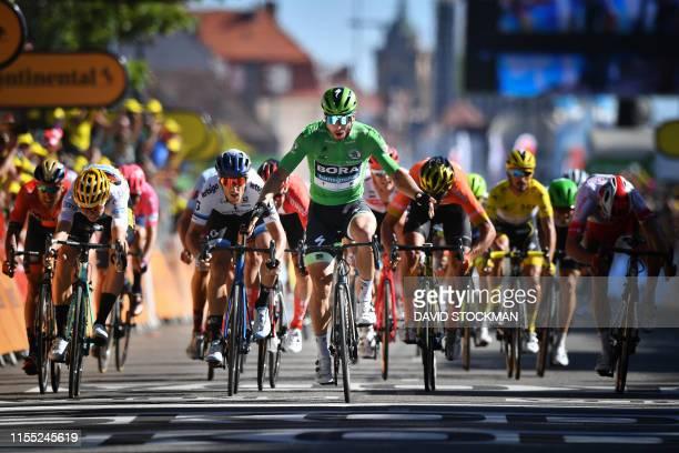 Belgian Wout Van Aert of Team Jumbo-Visma, Italian Matteo Trentin of Mitchelton - Scott, Slovakian Peter Sagan of Bora-Hansgrohe, Belgian Greg Van...