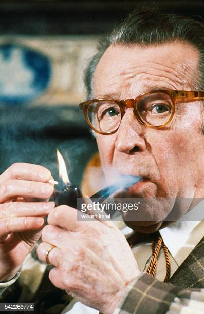 Belgian writer Georges Simenon at home.