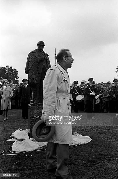 Belgian writer Georges Simenon attending the unveiling ceremony of Maigret's statue by the sculptor Pieter d'Hondt Delfzijl 3rd September 1966