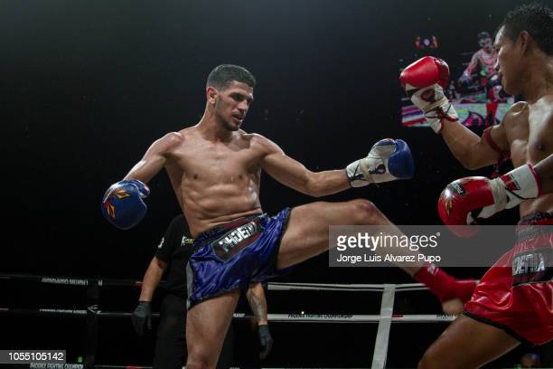 Belgian Youssef Boughanem in action during a 72kg WBC Muay Thai title fight vs Kongjak Por Paoin of Thailand at Palais 12 on October 13 2018 in...