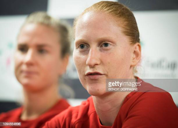 Belgian Ysaline Bonaventure and Belgian Alison Van Uytvanck pictured during a press conference of the Belgian Fed Cup team ahead of the quaterfinal...