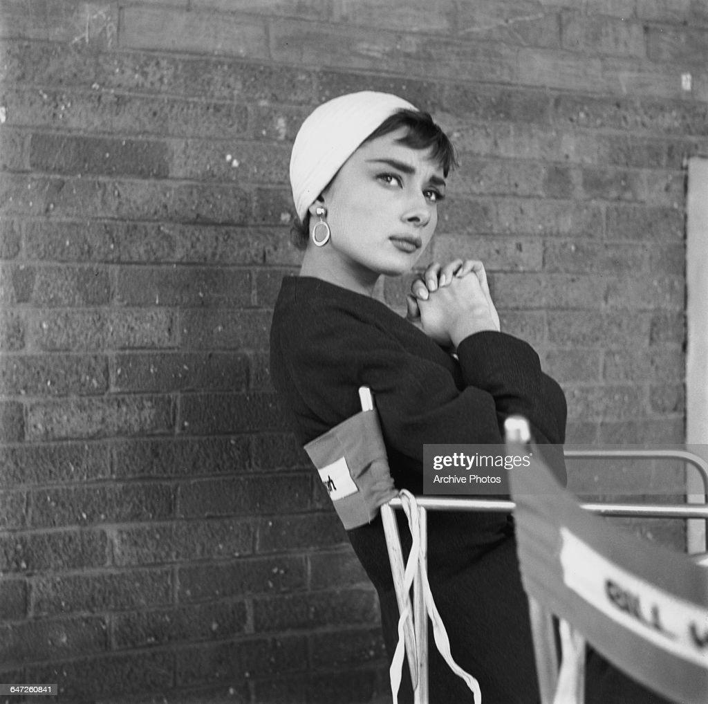 Hepburn On Set Of 'Sabrina' : News Photo